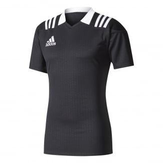 3-Stripes Black Fitted Rugby Jersey