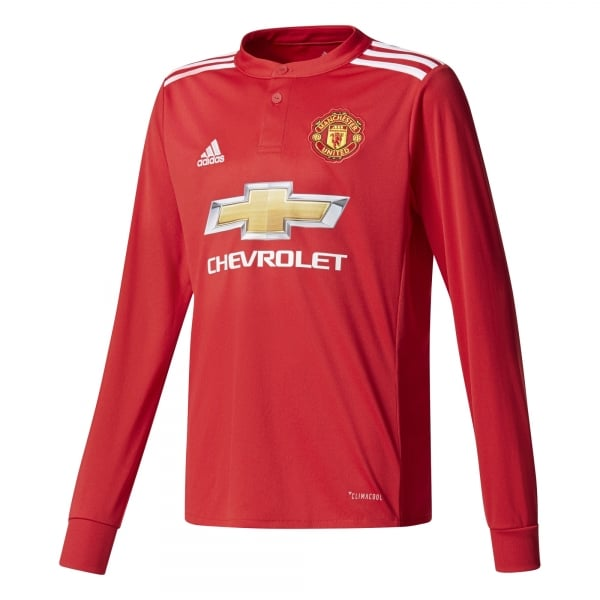 Adidas Manchester United Home Junior Long Sleeve Jersey 2017/2018