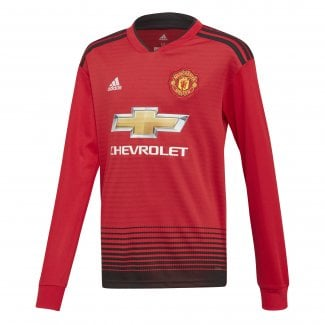 Manchester United Home Junior Long Sleeve Jersey 2018/2019