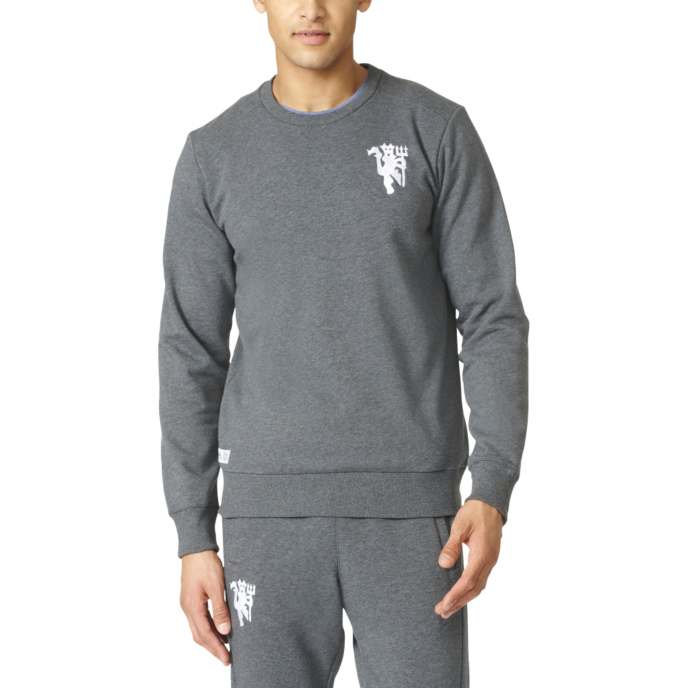 adidas manchester united mens crew sweat adidas from excell sports uk. Black Bedroom Furniture Sets. Home Design Ideas