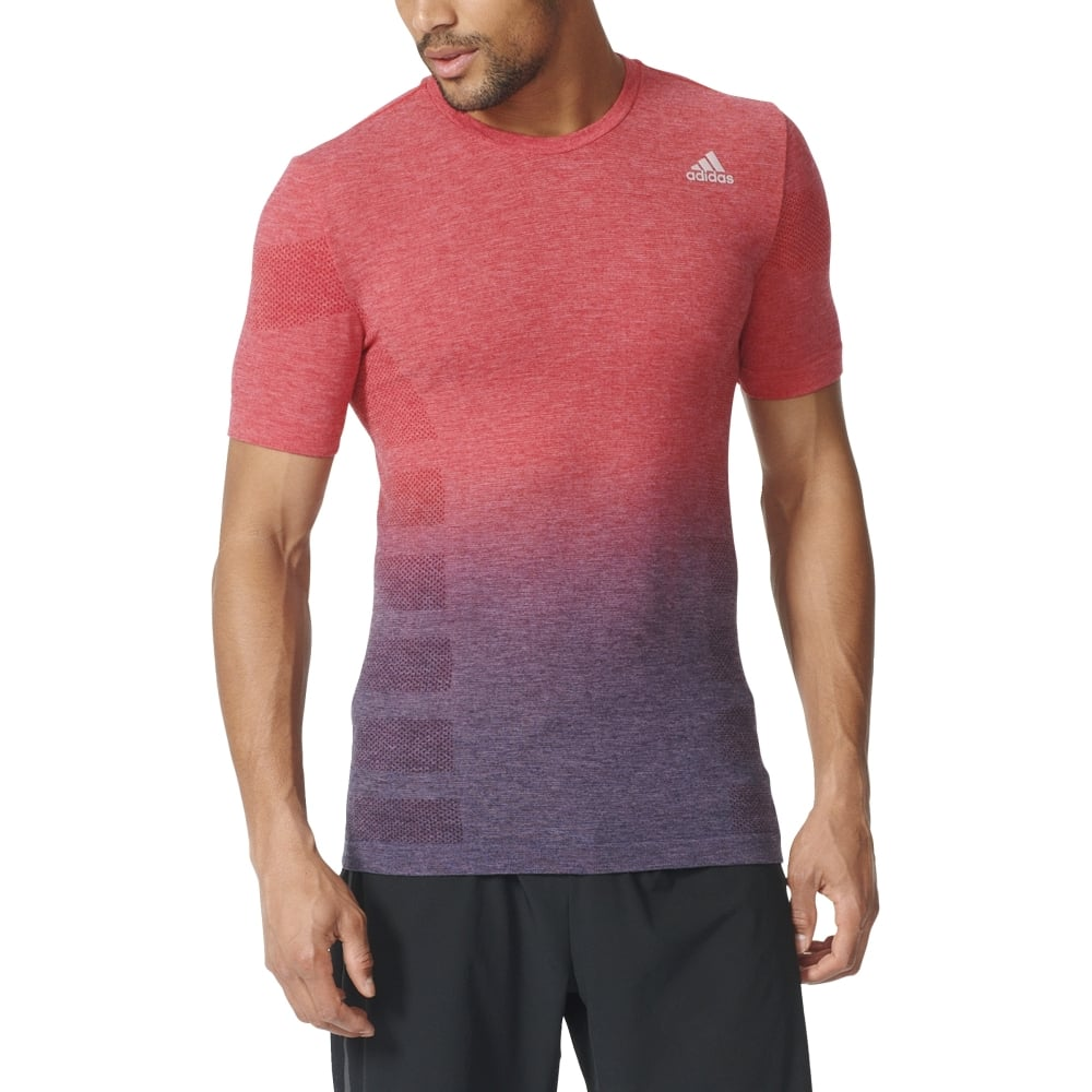 Adidas mens primeknit wool dip dyed tee in red excell for Mens red wool shirt