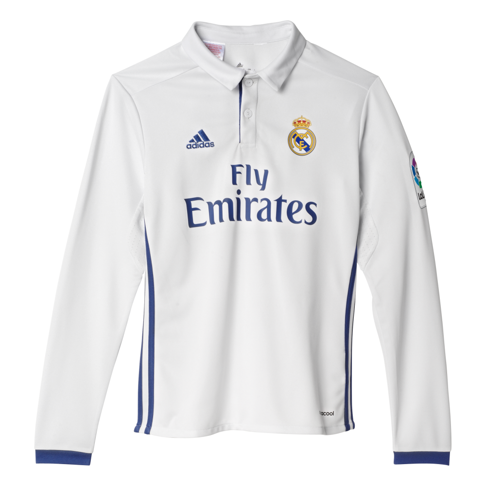reputable site fdf8a f3b58 Adidas Real Madrid Home Junior Long Sleeve Jersey 2016/2017