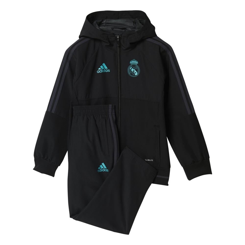 new product 5df7f 86452 adidas Real Madrid Presentation Suit 2017/2018 in Black ...