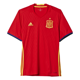 Spain Home Mens Short Sleeve Jersey 2016
