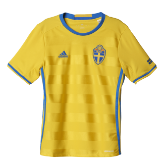 Sweden Home Junior Short Sleeve Jersey 2016