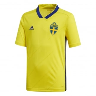 Sweden Home Junior Short Sleeve Jersey 2018