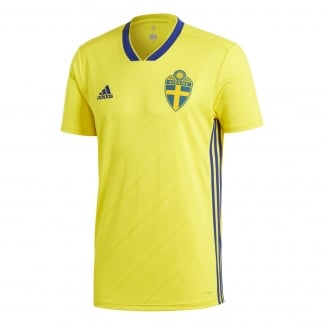 Sweden Home Mens Short Sleeve Jersey 2018