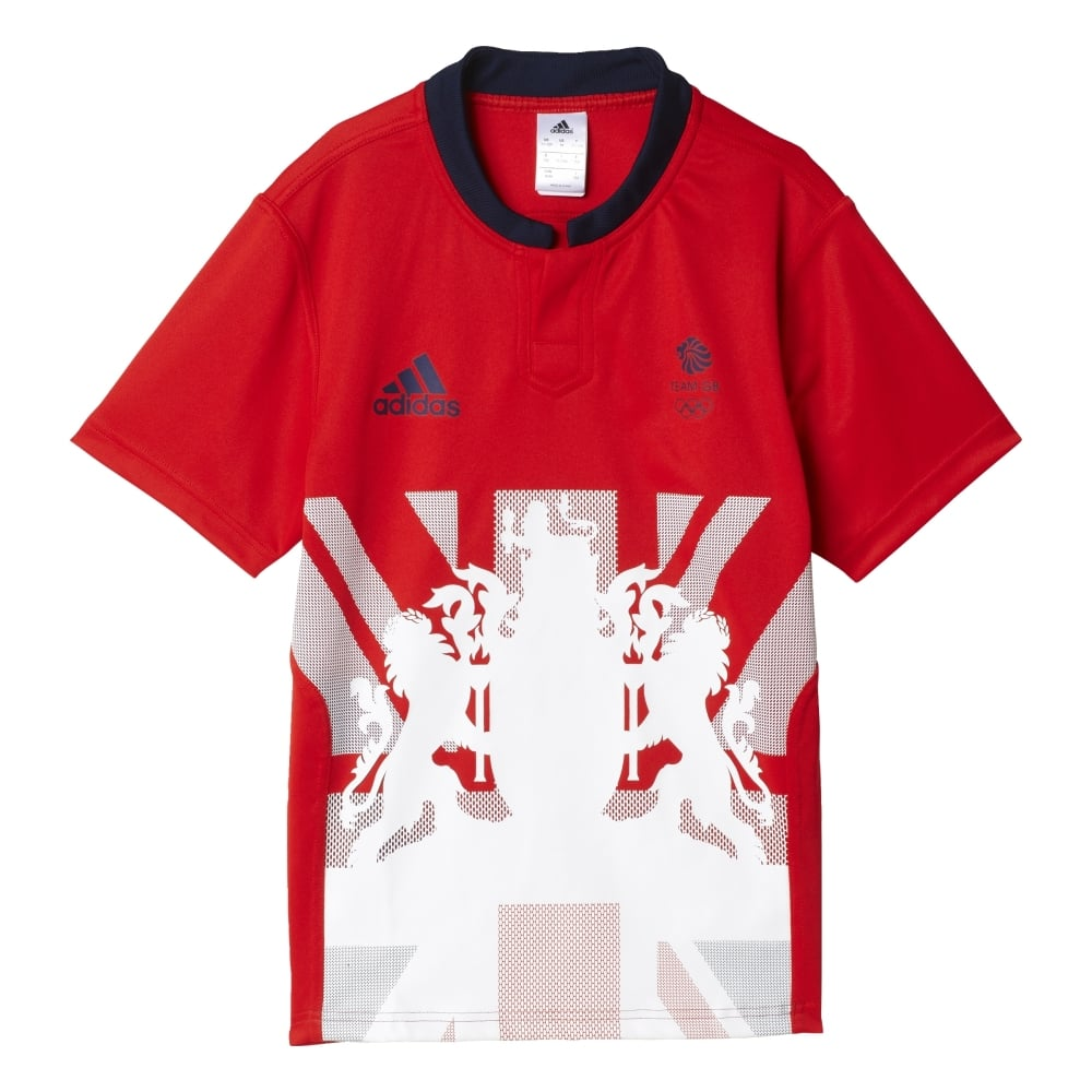 Adidas Rugby Home: Adidas Team GB Junior Home Rugby Jersey In Red