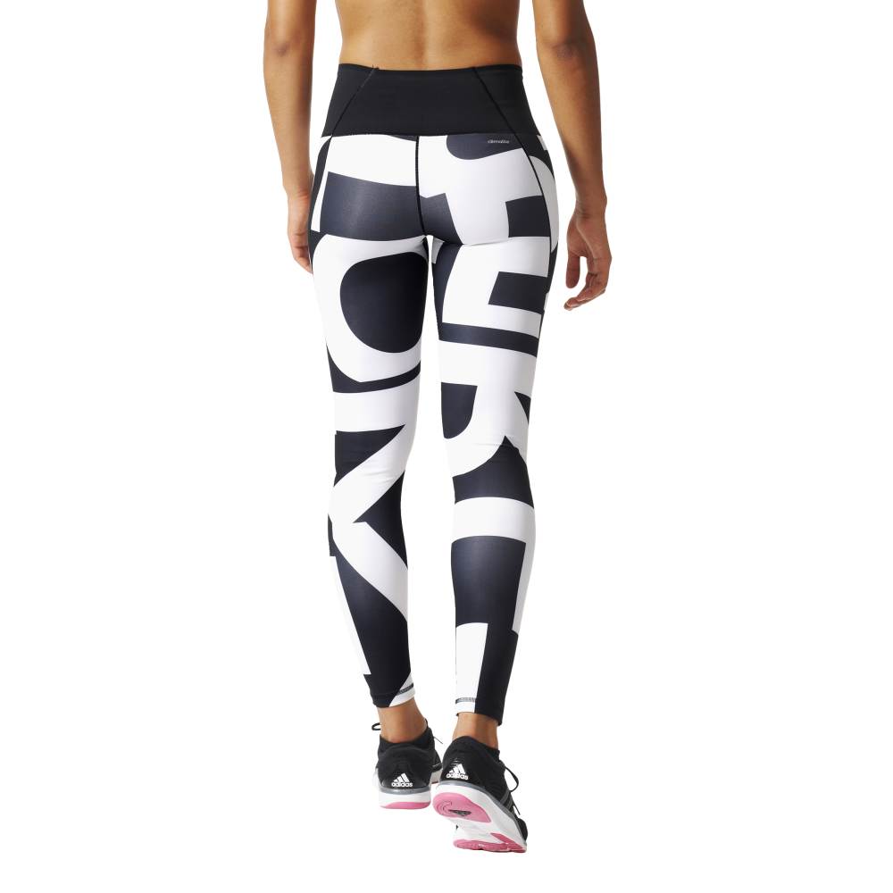 6b8472056738e adidas Womens Ultimate Fit High-Rise Long Tight in Black/White ...