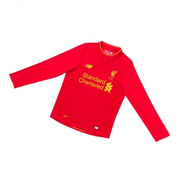 New Balance Liverpool Home Junior Long Sleeve Jersey 2016/2017