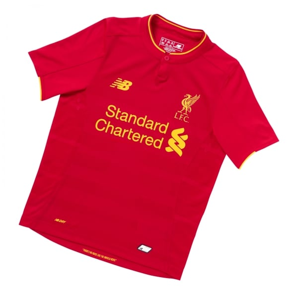 New Balance Liverpool Home Junior Short Sleeve Jersey 2016/2017