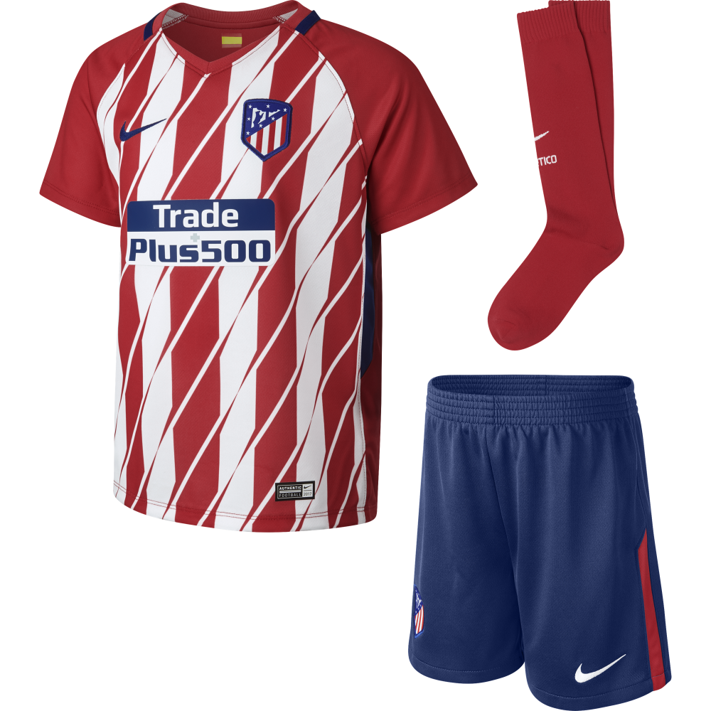 nike atletico madrid home mini kit 2017 2018 in red white excell sports uk. Black Bedroom Furniture Sets. Home Design Ideas