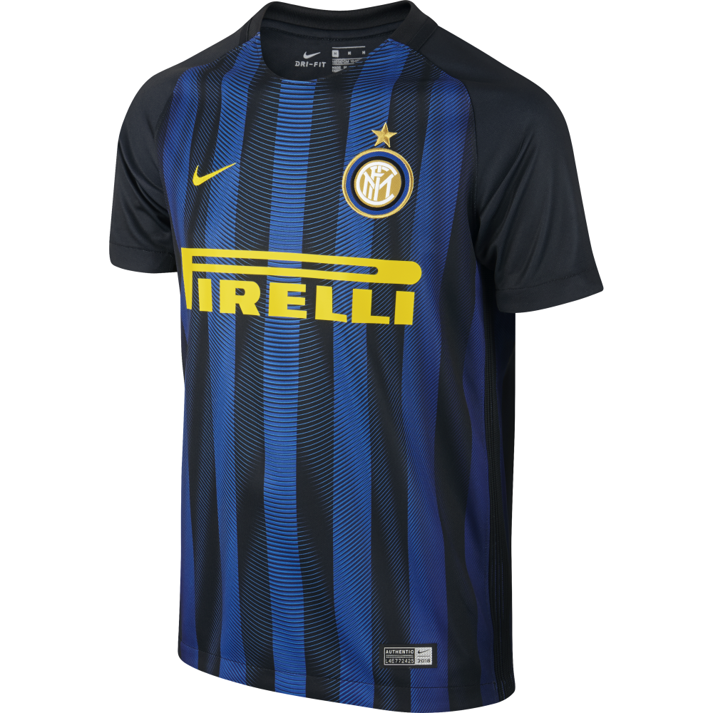 Nike Inter Milan Home Junior Short Sleeve Jersey 2016 2017 In Black Excell Sports Uk