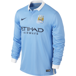 Manchester City Junior Home Long Sleeve Jersey 2015/2016