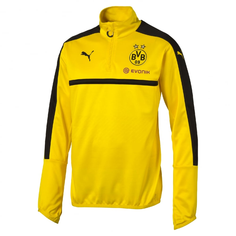 9c7c2d484 Puma Borussia Dortmund Junior 1 4 Zip Training Top in Yellow ...