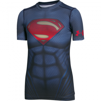 Boys HeatGear Superman Suit Shortsleeve Fitted Tee