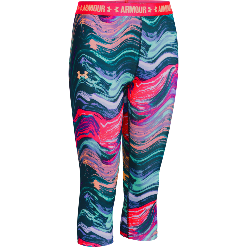 under armour shorts for girls. under armour girls heatgear printed capri shorts for