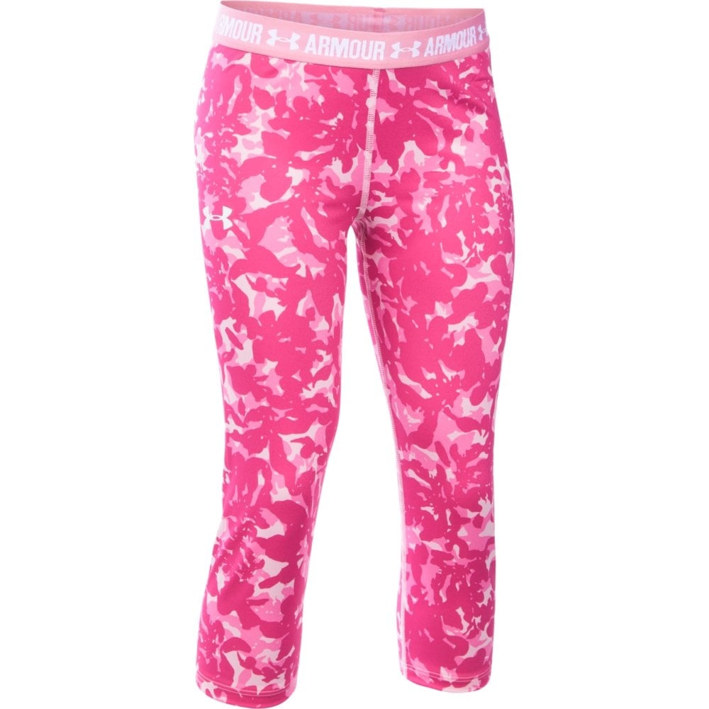 2d4ffe9c45cdb3 Under Armour Girls HeatGear Armour Printed Capri in Pink | Excell Sports UK