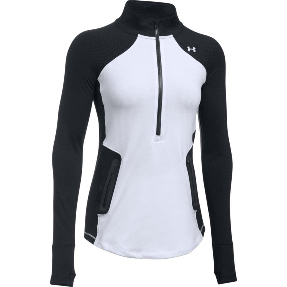 Under armour womens coldgear reactor 1 2 zip in white for Women s running shirt