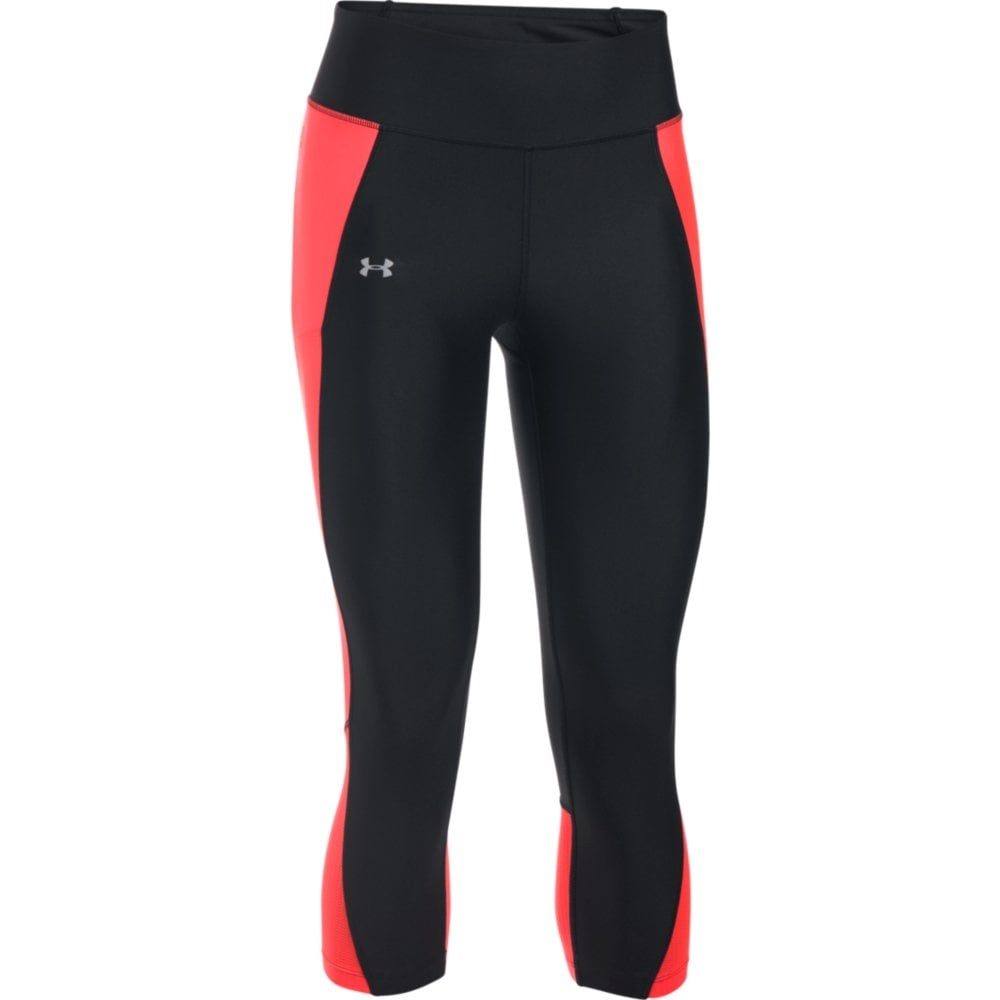 acd0f6fcf0e378 Under Armour Womens Fly-By Capri in Black/Red | Excell Sports UK