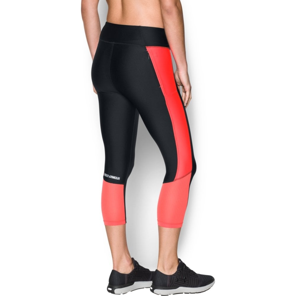 Under Armour Womens Fly-By Capri in Black Red  968614f7d